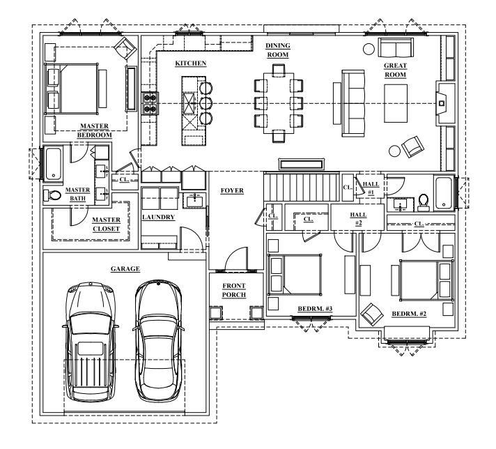 Badin Left Car Layout irish custom homes